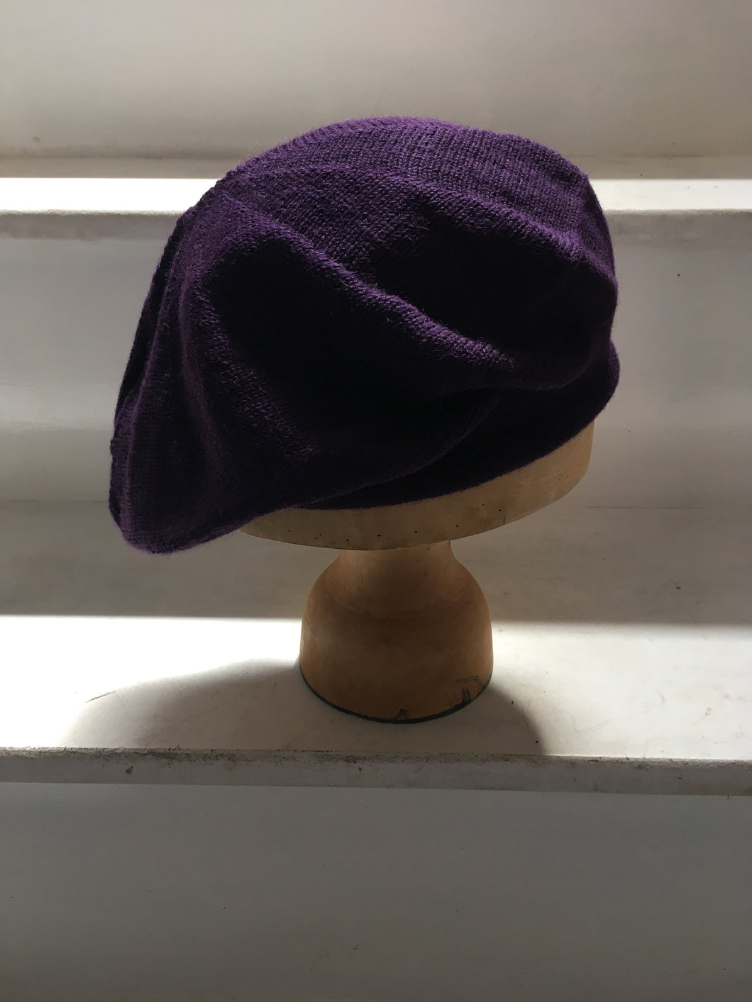Lord and Taft Deep Purple Alpaca Knitted Tam Style Beret