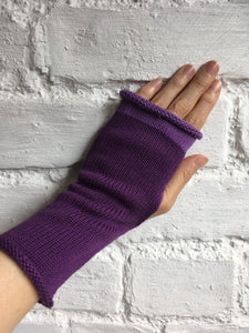 Purple Cotton Fingerless Gloves