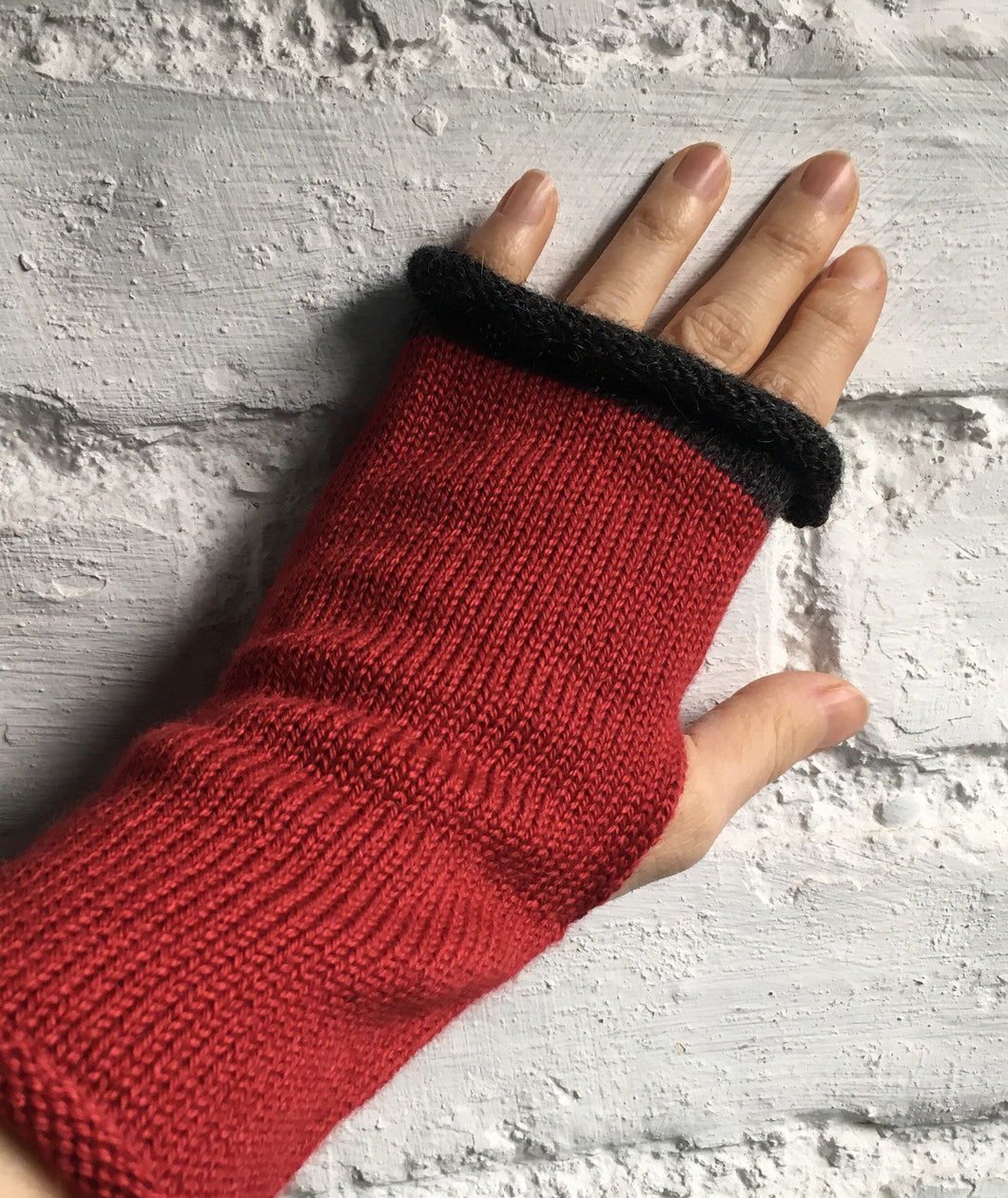 Lord and Taft Crimson Red Alpaca Silk Fingerless Gloves with Charcoal Grey Trim at Fingertips