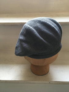Blue Grey Cotton Knitted Scottish Tam Hat by Lord and Taft