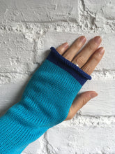 Load image into Gallery viewer, Turquoise Blue Cotton Fingerless Gloves with Royal Blue Trim by Lord and Taft