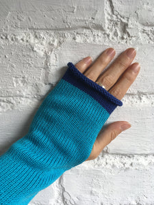 Turquoise Blue Cotton Fingerless Gloves with Royal Blue Trim by Lord and Taft