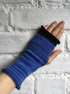 Blue Cotton Knitted Fingerless Gloves
