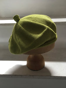 Lime Green Cotton Knitted French Style Beret with Tab at Top - by Lord and Taft