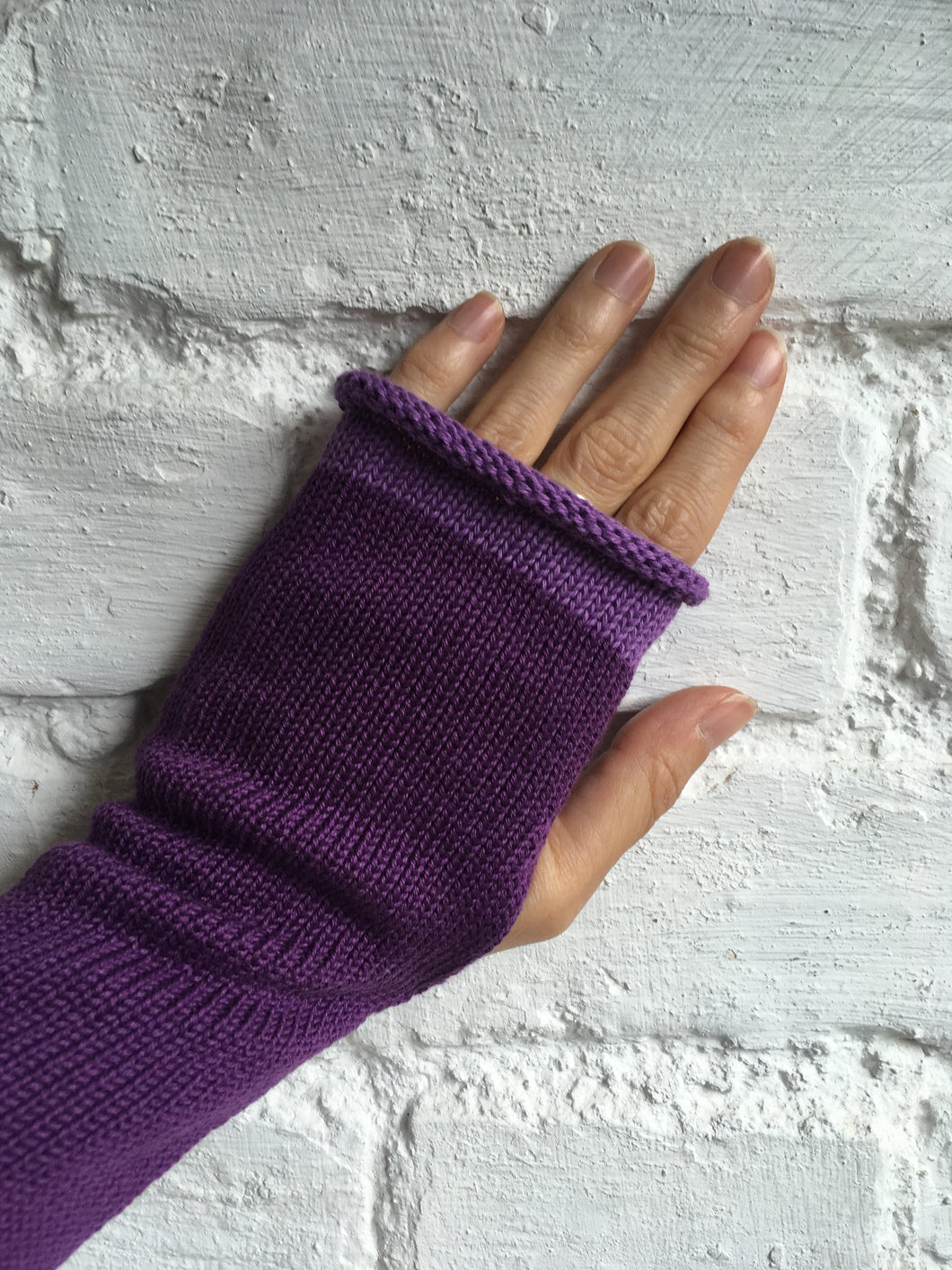 Lord and Taft Violet Purple Cotton Knitted Wrist Warmers with Slit for Thumb