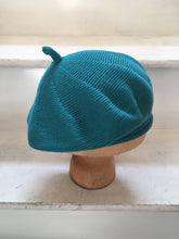 Load image into Gallery viewer, Lord and Taft Teal Cotton Knitted French Style Beret