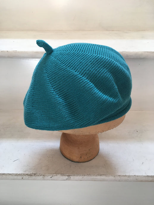Lord and Taft Teal Cotton Knitted French Style Beret