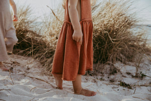 Linen Slub Yarn Pinafore - Rust
