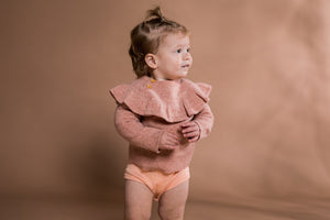Speckled Merino Frill Pull Over - Coral