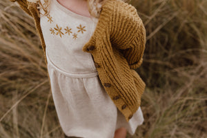 Ribbed Slub Yarn Cardigan - Harvest Gold