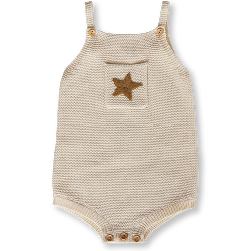 Pearl Knit Star Romper - Milk