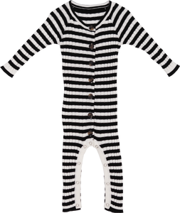 Ribbed Stripe Jumpsuit - Black / Snow