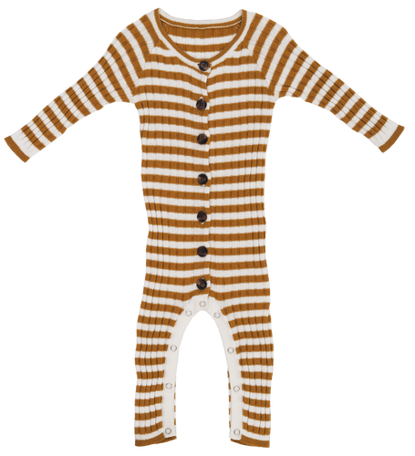 Ribbed Stripe Jumpsuit - Harvest Gold / Snow