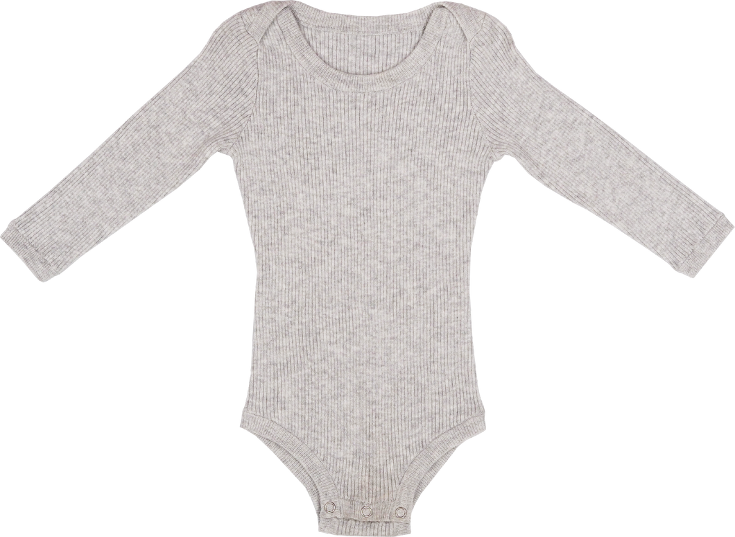 Ribbed Bodysuit - Grey Marle