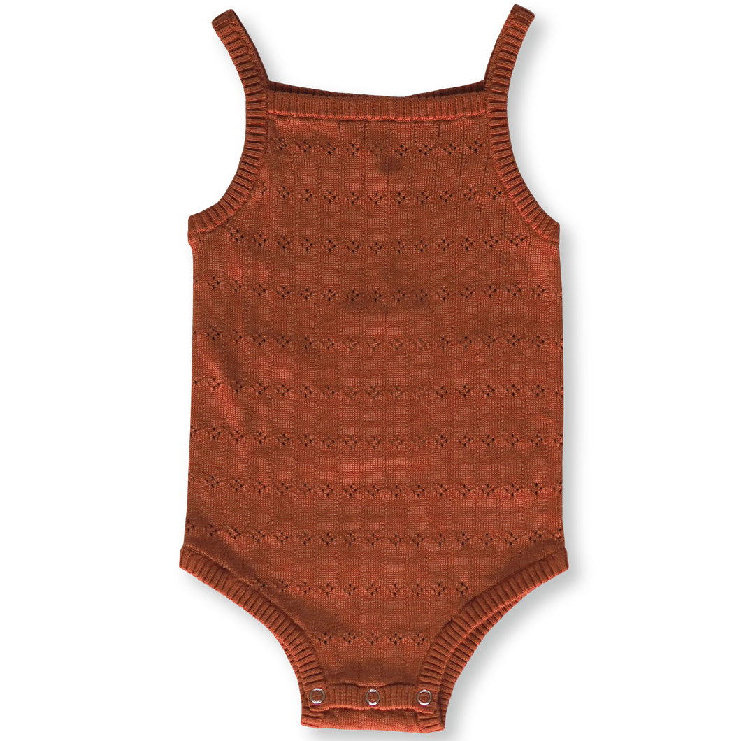 Pointelle Bodysuit - Rust