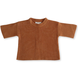 Chunky Rib Pull Over - Terracotta