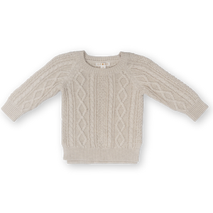 Cable Knit Pull Over - Oatmeal Marle