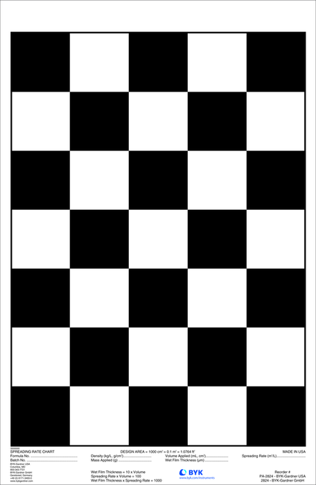 Tarjeta estandarizada Byko Chart checkerboard spreading rate 10H