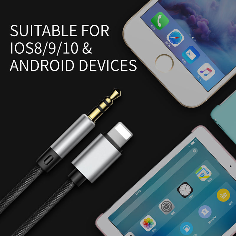 Baseus 3.5mm Jack aux cable for iPhone XS MAX XS XR X 7 8 1 in 2 Jack to Jack Audio Cable Adapter for iPhone 7plus Aux Male to Male Audio Cable - Hot Phone Tech