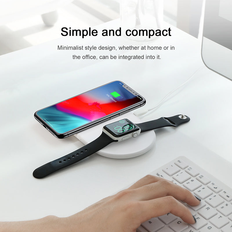 Baseus 2 in 1 Wireless Charger Pad For Apple Watch 4/3/2/1 Upgrade Version Fast Wireless Charging for iPhone 8 XS Max XR X Samsung HUAWEI Google Sony LG - Hot Phone Tech