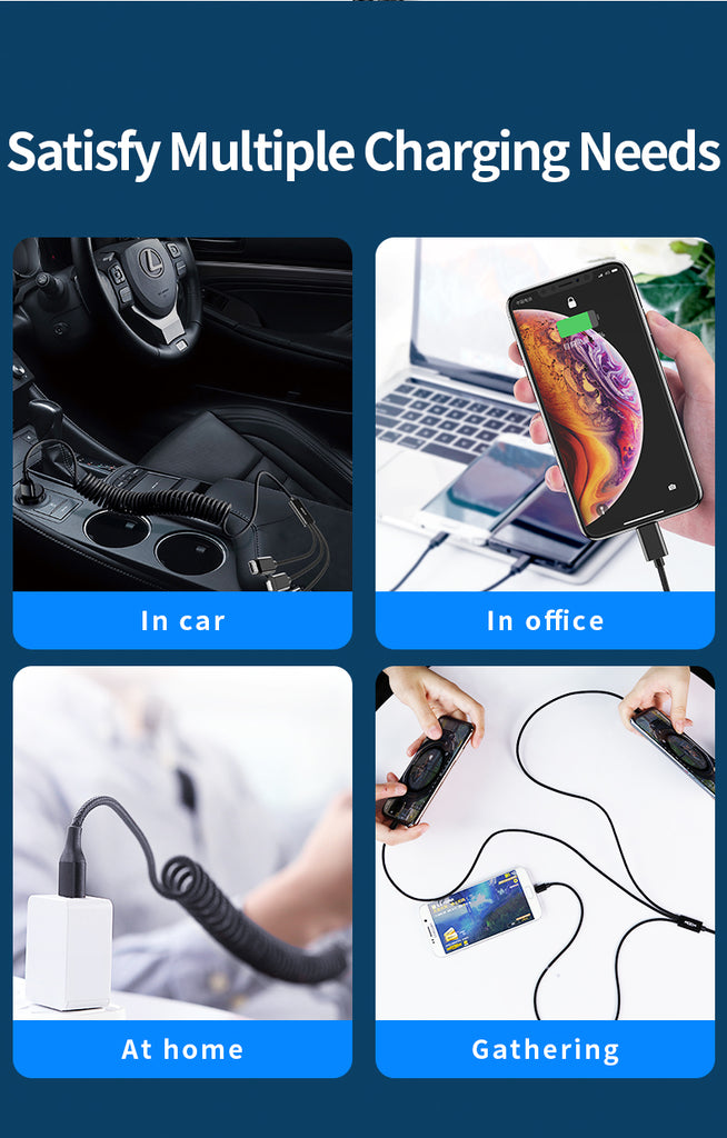 ROCK 3 in 1 USB Cable For Lightning Type-C Micro Usb Cable 3.3A Fast Charge Scalable Nylon Spring Cord For iPhone Sony LG Google Huawei Samsung - Hot Phone Tech