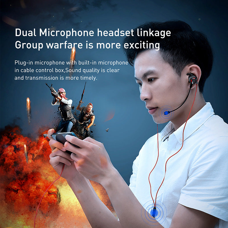 Baseus In-Ear Earphone  Typc C Wired Headset for PUBG Gamer Gaming Headphones Hi-Fi Earbuds With Dual Microphone Detachable - Hot Phone Tech