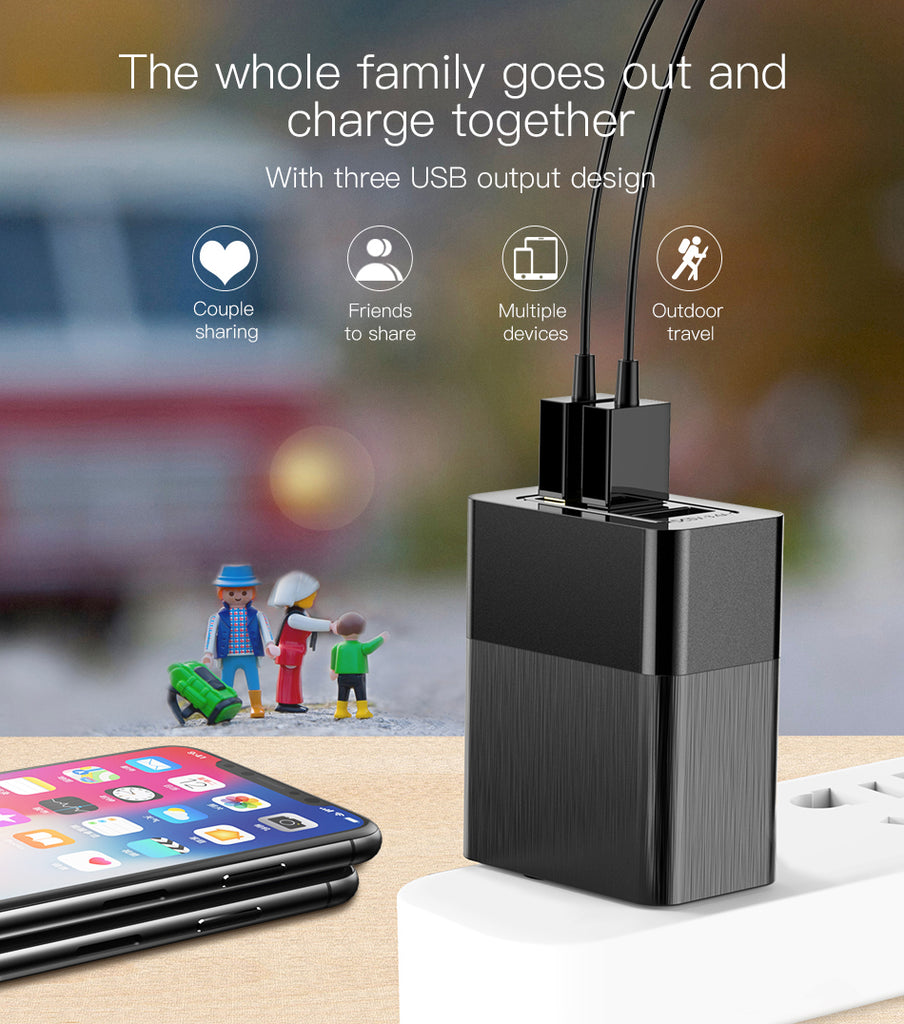 Baseus 3 Port USB Charger 3 in 1 Triple EU US UK Plug 2.4A Travel Wall Charger Adapter Mobile Phone Charger For iPhone LG HUAWEI Google Sony  Samsung - Hot Phone Tech