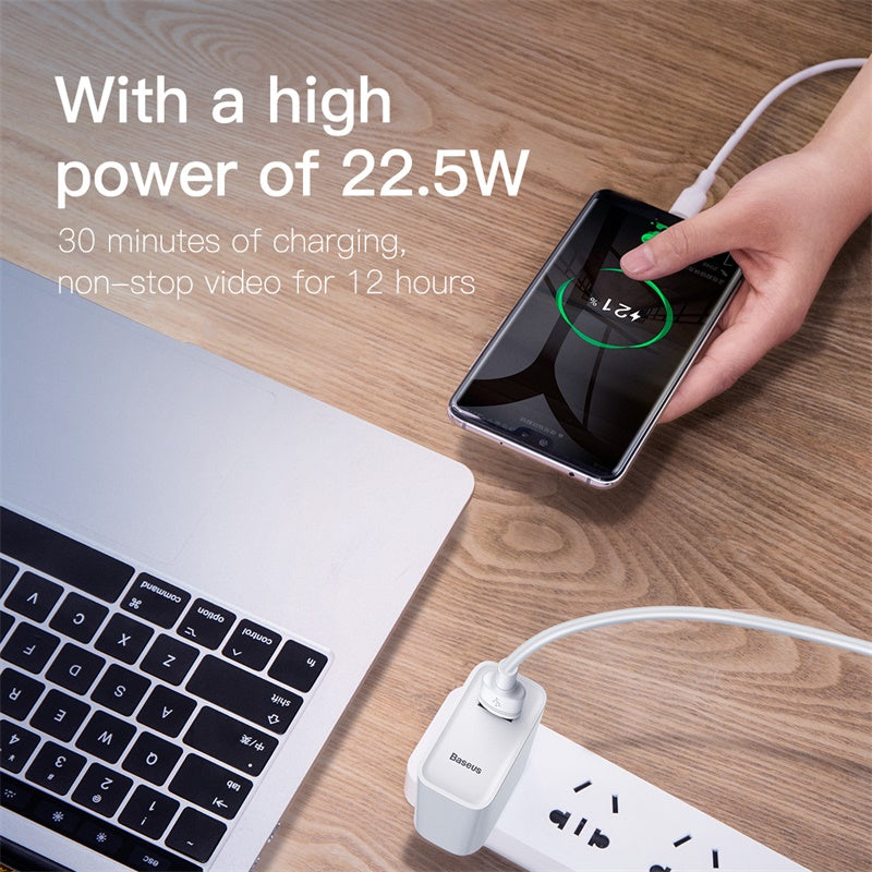Baseus 22.5W US Plug USB Charger Travel Wall Charger Adapter Protable Mobile Phone USB Charger For iphone XS MAX XS XR X 8  X Samsung LG HTC HUAWEI Google - Hot Phone Tech