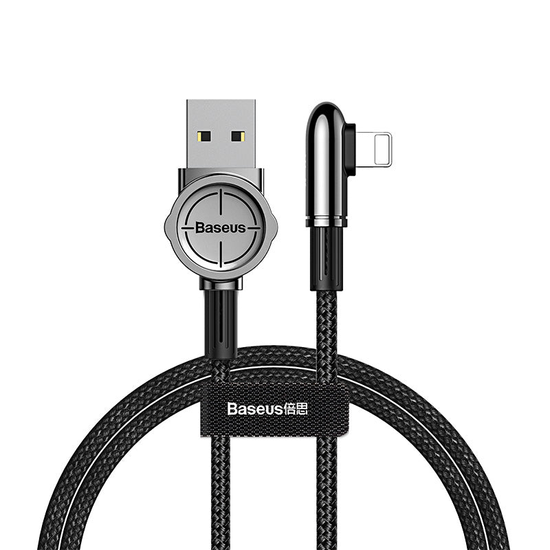 Baseus USB Cable For iPhone XS Max XR X 8 7 6 6S SE iPad 2.4A Fast Charging Charger Wire Cord 90 Degree Data Mobile Phone Cable - Hot Phone Tech
