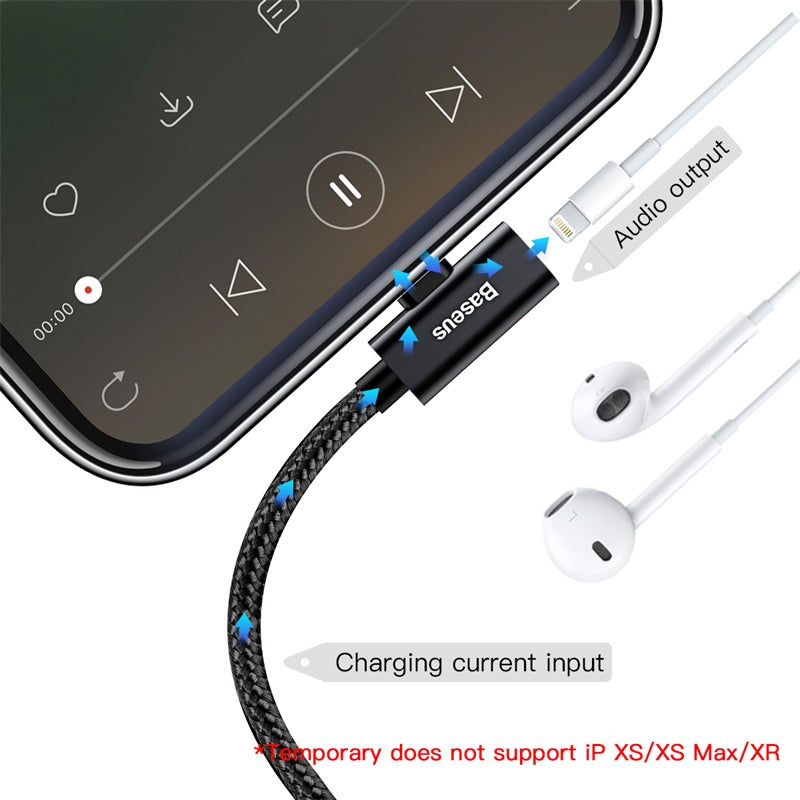 Baseus 2 in 1 Audio USB Cable For iPhone Xs Max Xr X 8 7 6 Plus Earphone Splitter Charging Charger Data Cable Adapter For iPhone - Hot Phone Tech