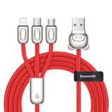 Baseus Three Pigs iPhone Micro USB Type C Cable 3 in 1 Cable Charging Cable USB For iPhone Google Samsung LG HTC ALL Cellphone - Hot Phone Tech