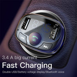 Baseus 3.4A Dual USB Car Charger Kit Handsfree FM Transmitter Aux Modulator Audio MP3 Player Bluetooth Car USB Charger Charging - Hot Phone Tech