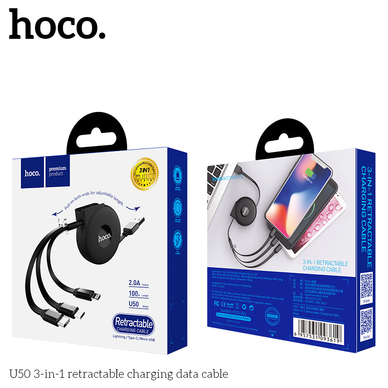 HOCO Retractable 3in1 USB Cable Micro USB Type C Charging Cable for iPhone Samsung Huawei Google LG Sony Android Mobile Phone Charger Cord - Hot Phone Tech