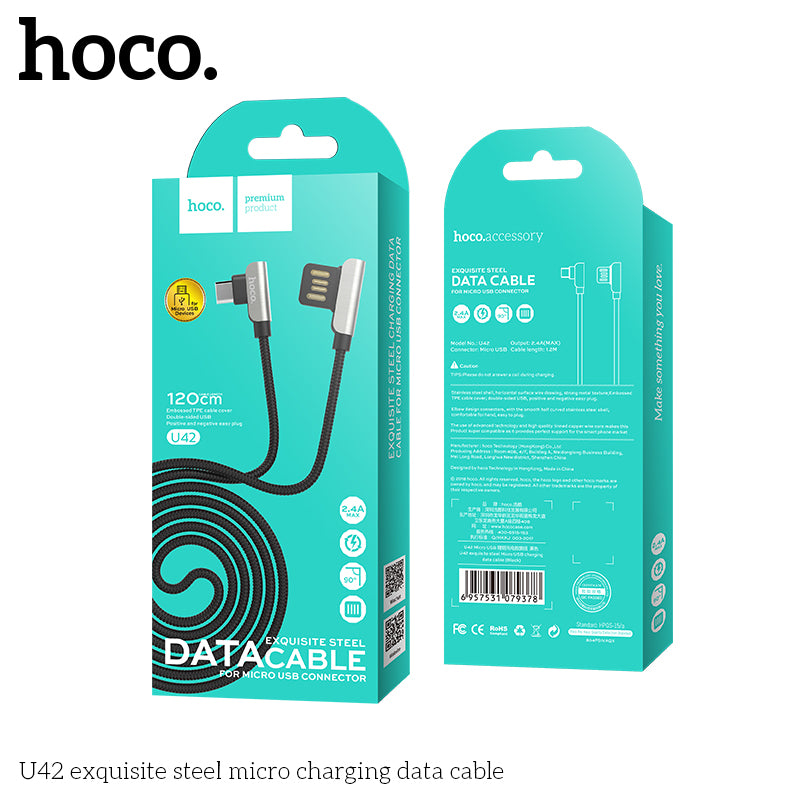 HOCO U42 1.2m Dual Right Angle Micro USB Charging Data Sync Charger Cable for Samsung Sony LG HUAWEI Google LG Android Nylon Charger Cable - Hot Phone Tech
