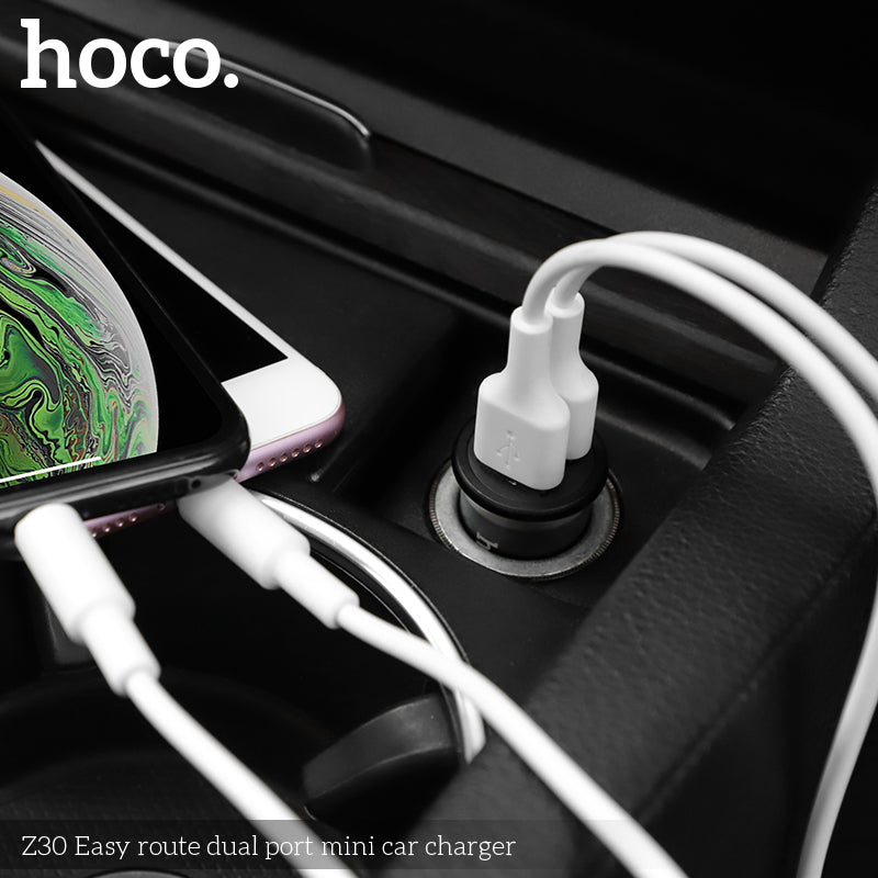 HOCO Z30 3.1A Dual USB Fast Charge mini Car Charger for iPhone XR XS Max for Samsung Xiaomi Sony LG HUAWEI Google - Hot Phone Tech