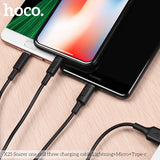 HOCO 3.3FT 3 in 1 USB Charger Charging Cable for iPhone Samsung Google Sony LG HUAWEI Android iPhone Phones USB Micro USB Type-c Mobile Phone Cord - Hot Phone Tech
