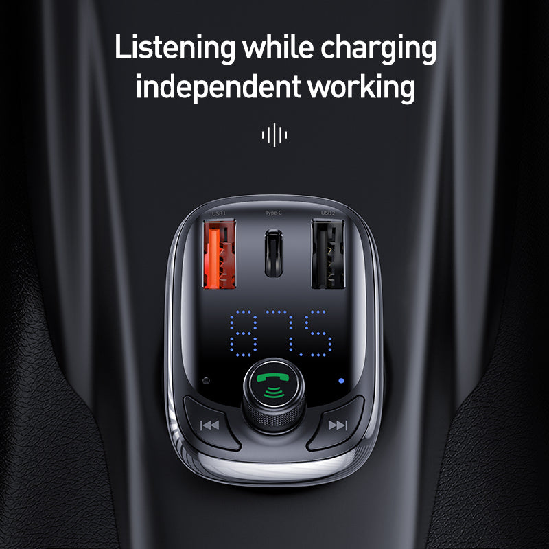 Baseus FM Transmitter Car Charger For Phone QC 4.0 3.0 PD3.0 Bluetooth 5.0 Car Kit Audio MP3 Player 36W Fast Charging Car-harger - Hot Phone Tech