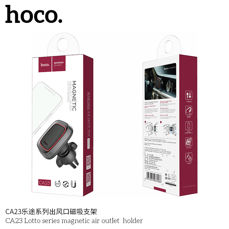 HOCO CA23 Universal Magnetic 360 Degree Rotation PU Leather Car Mount Air Vent Phone Holder Stand Bracket for iPhone Samsung Sony LG HUAWEI Google - Hot Phone Tech