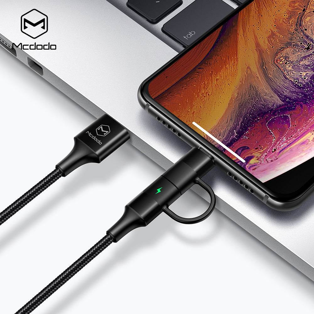 Mcdodo 2 in 1 Lightning to USB Cable QC4.0 Type-c USB Cable For Samsung Google Sony LG Xiaomi Huawei Fast Charging For iPhone XS MAX XS XR X  6 7 8 PLUS Cable - Hot Phone Tech
