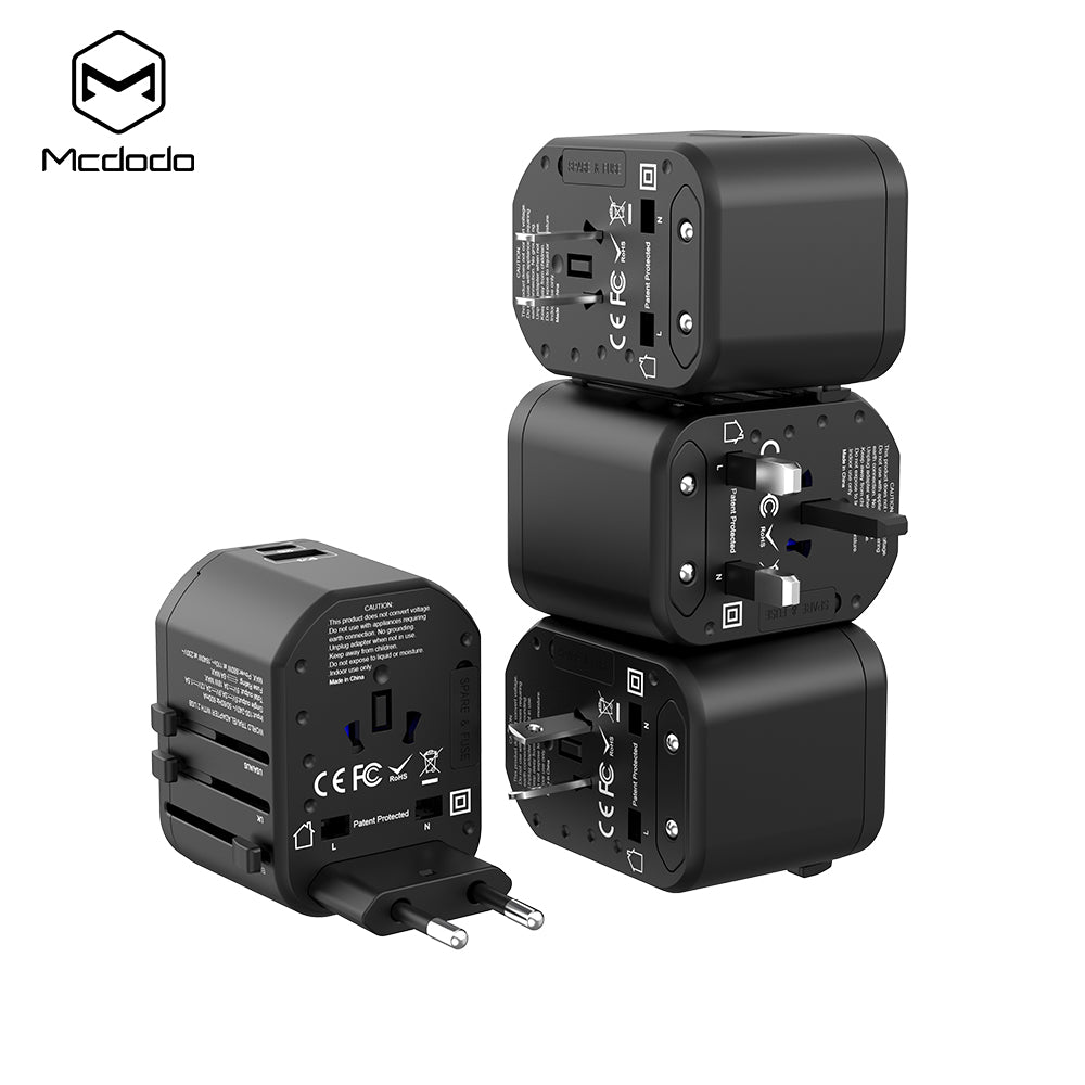 Mcdodo International Travel Power Adapter with USB 3.0 PD Fast Charger & Worldwide AC Wall Outlet Plugs for UK, US, AU, Europe - Hot Phone Tech