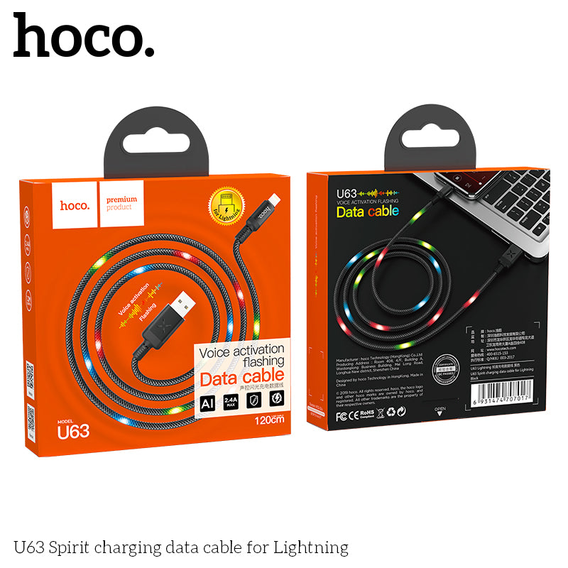 HOCO U63 USB Fast Charging Data Cable Smart Power off Auto disconnect LED Charge Cable for iPhone 6 7 8 plus X XS MAX XR Charger - Hot Phone Tech