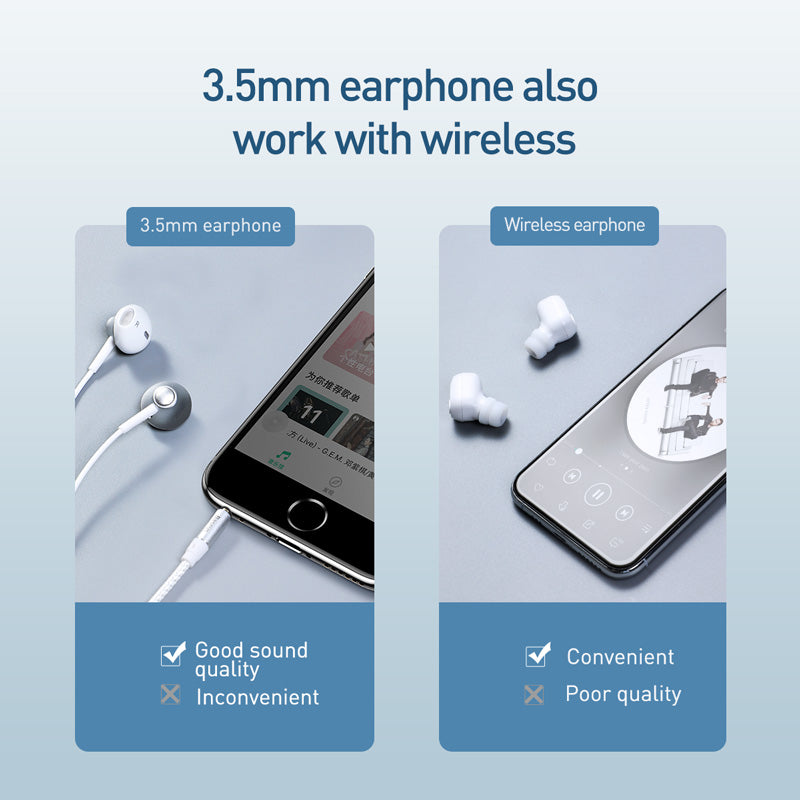 Baseus  Bluetooth 5.0 Audio Adapter Standby Duration Up To 200H 3.5mm Music Mirror Surface Audio Receiver For Earphone Bluetooth Adapter - Hot Phone Tech