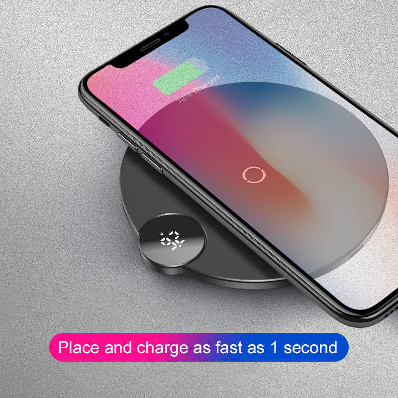 Baseus LCD Display Wireless Charger For iPhone X Xs Max Fast Wireless Phone Charger For Samsung Google HTC LG HUAWEI - Hot Phone Tech