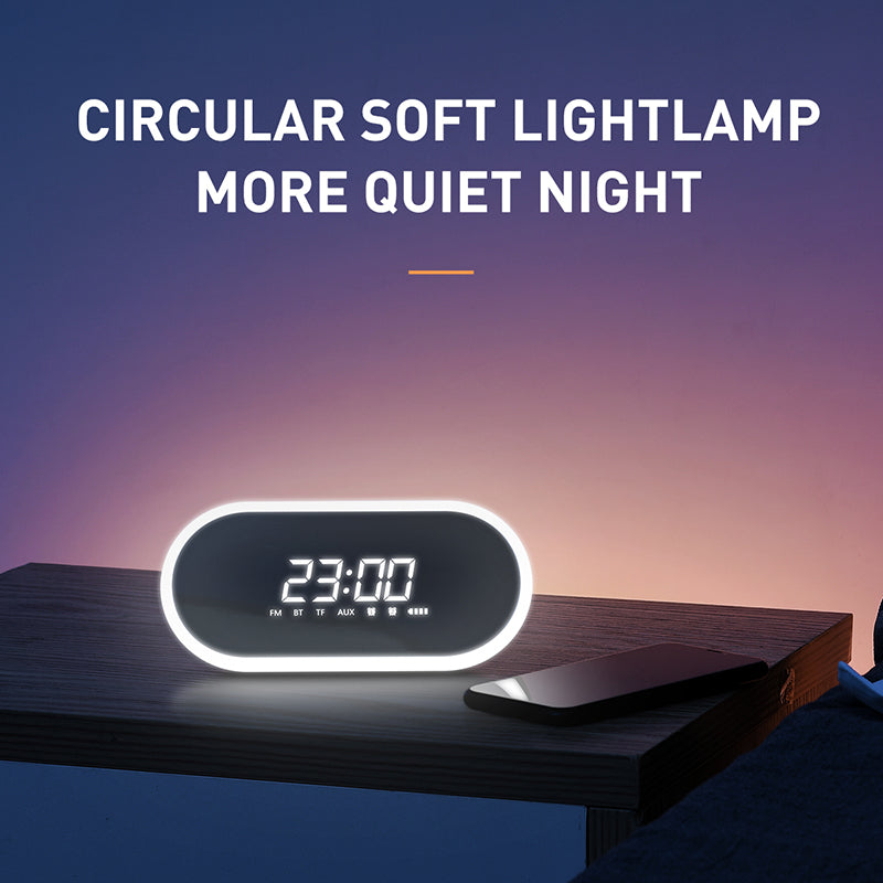 Baseus Night light Bluetooth Speaker With Alarm Clock Function ,Portable Wireless Loudspeaker Sound System For Bedside & Office - Hot Phone Tech