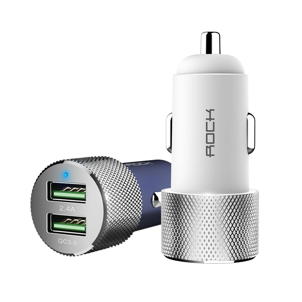 Rock Car Charger 18W QC3.0 Quick Charge Dual Usb Fast Charging Car-Charger For iPhone Sony Google LG Samsung Huawei in Car adapter - Hot Phone Tech