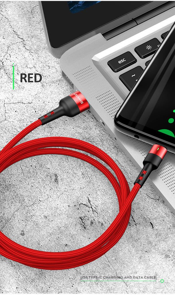 USAMS Type-C USB Cable Support QC3.0 Charge Nylon Braided Cable With LED light For Samsung Sony LG HUAWEI Google - Hot Phone Tech