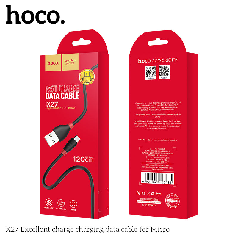 HOCO USB A to Micro USB Quick Charging Cable for Samsung Huawei LG Google Sony USB Fast Charger Cable Braided Data sync Wire - Hot Phone Tech