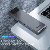 Baseus USB C HUB to Multi USB 3.0 HDMI USB HUB for MacBook Pro USB Splitter 7 Ports Thunderbolt 3 HUB RJ45 Dual USB Type C HUB - Hot Phone Tech