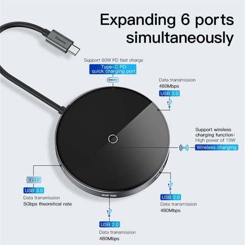 Baseus Circular Mirror Wireless Charger HUB (TYPE-C to USB 3.0*1+USB2.0*3/TYPE-C PD)For iPhone XS MAX XS XR 8 Samsung Google LG HUAWEI Sony - Hot Phone Tech