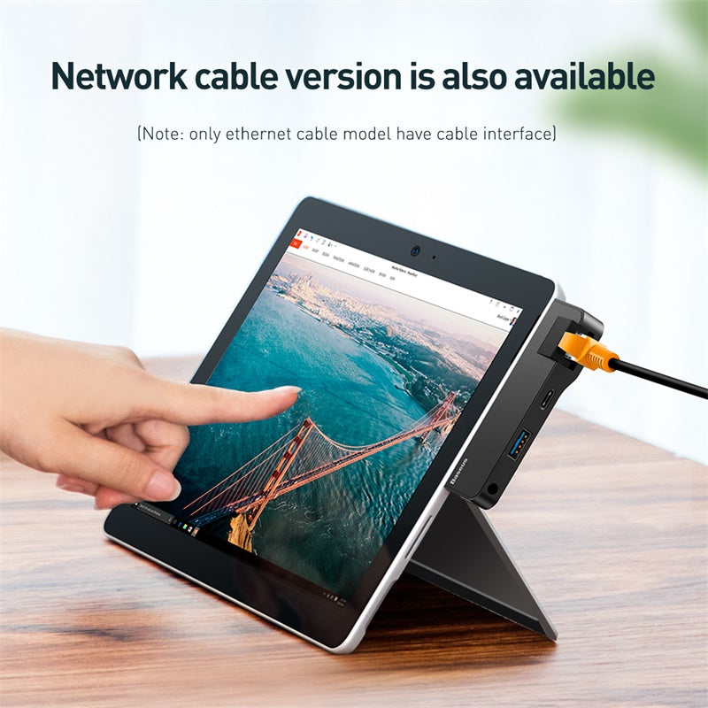 Baseus Multifunctional HUB for Surface Go(Type-C+Audio to RJ45+USB3.0+Type-C(data)+Audio)(Type-C+Audio to HD4K+USB3.0+Type-C(data)+Audio) Black - Hot Phone Tech